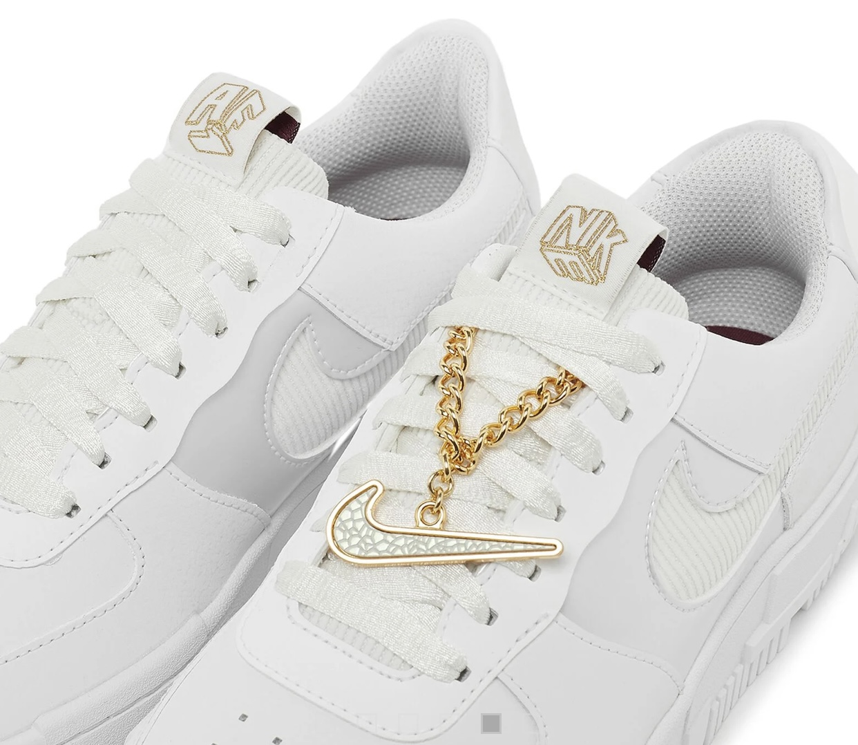 Nike Air Force 1 Pixel Grey Gold Chain - Get In My Shoes
